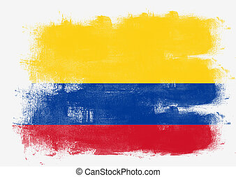 Flag of Colombia painted with brush