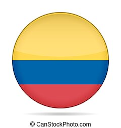 Flag of Colombia. Shiny round button.