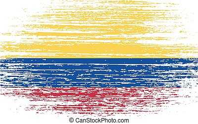 Flag of Colombia with old texture. Vector illustration