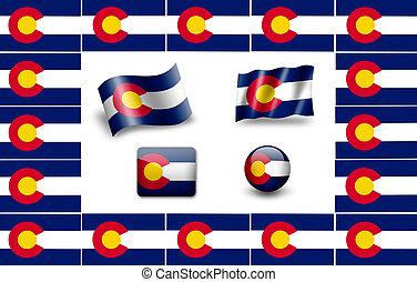 Flag of Colorado. icon set. flags frame.