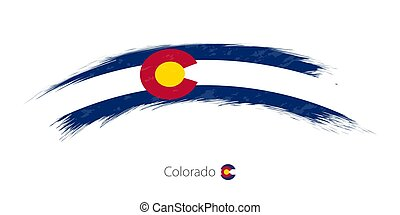 Flag of Colorado in rounded grunge brush stroke. - Flag of ...