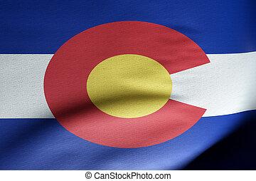 Flag of Colorado waving wind