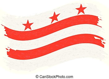Flag of Columbia. Grunge Abstract Brush Stroke Isolated On A White Background. Vector Illustration.