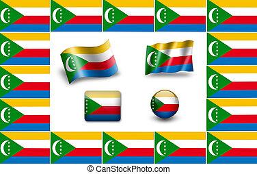 Flag of Comoros. icon set. flags frame.