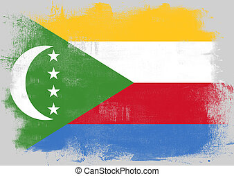 Flag of Comoros painted with brush
