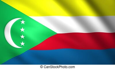 Flag of Comoros waving in the wind