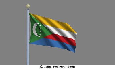 Flag of Comoros with alpha matte - Flag of Comoros waving in...