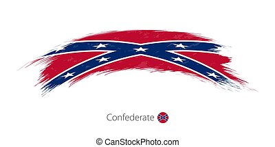 Flag of Confederate in rounded grunge brush stroke.