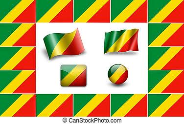 Flag of Congo. icon set. flags frame.