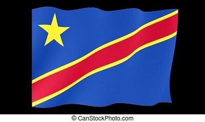 Flag of Congo Kinshasa. Waving flag