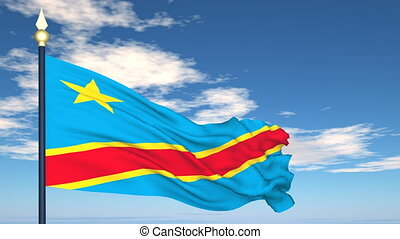 Flag Of Congo on the background of the sky and flying clouds.