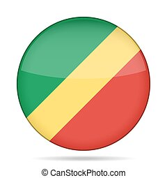 Flag of Congo. Shiny round button.