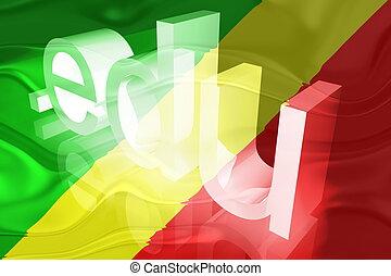 Flag of Congo wavy education - Flag of Congo, national...