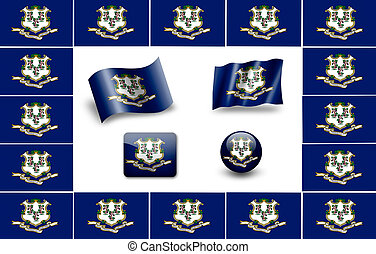 Flag of Connecticut. icon set. flags frame.