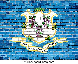 Flag of Connecticut on a brick wall
