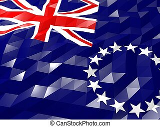 Flag of Cook Islands 3D Wallpaper Illustration, National Symbol, Low Polygonal Glossy Origami Style