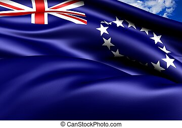 Flag of Cook Islands against cloudy sky. Close-up.
