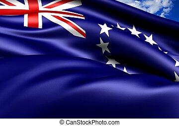 Flag of Cook Islands. Close Up.