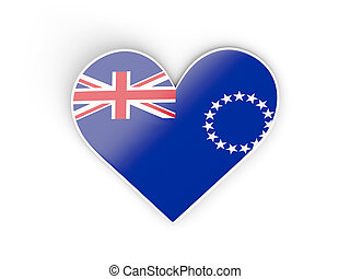 Flag of cook islands, heart shaped sticker isolated on white. 3D illustration