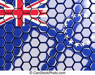 Flag of cook islands, hexagon mosaic background