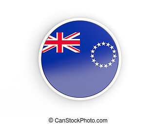 Flag of cook islands. Round icon with white frame.3D illustration