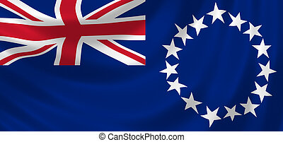 Flag of Cook Islands waving in the wind detail