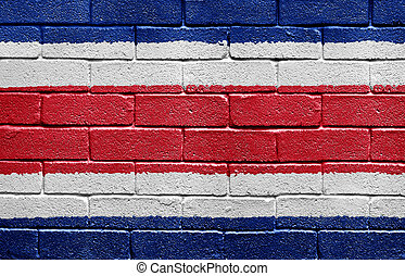 Flag of Costa Rica on brick wall