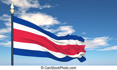Flag Of Costa Rica on the background of the sky and flying...