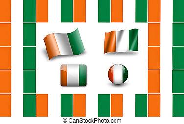Flag of Cote d'Ivoire. icon set. flags frame.