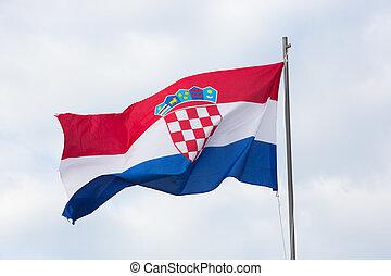 Flag of Croatia against the sky