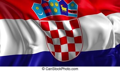 Beautiful 3d animation Croatia flag in loop mode