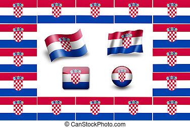 flag of Croatia. icon set