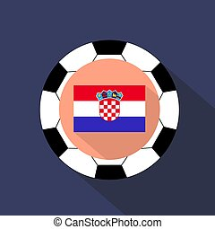 Flag of Croatia on a blue background. Soccer ball.