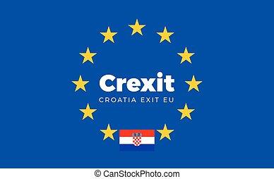 Flag of Croatia on European Union. Crexit - Croatia Exit EU...