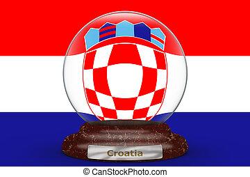 Flag of Croatia on snow globe