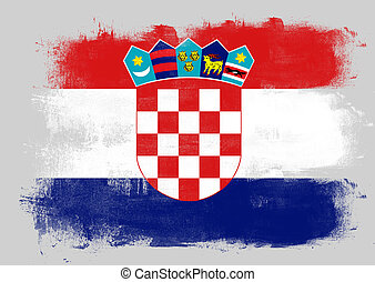 Flag of Croatia painted with brush