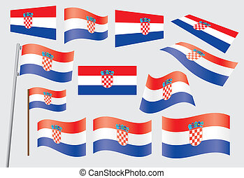 flag of Croatia - set of flags of Croatia vector...