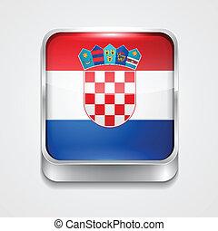 flag of croatia - vector 3d style flag icon of croatia