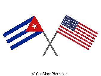 Flag of Cuba and USA - Flag of the USA and Cuba