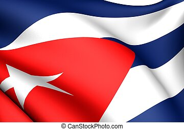 Flag of Cuba. Close up. Front view.