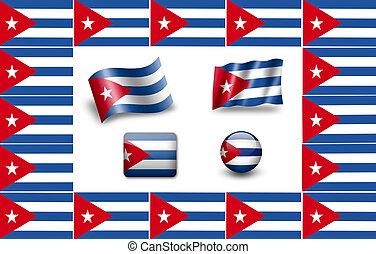 Flag of Cuba. icon set. flags frame.