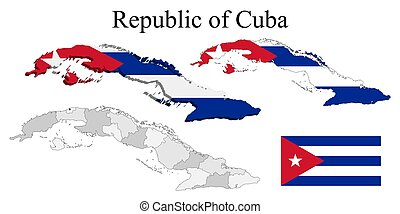 Flag of Cuba on map and map with regional division