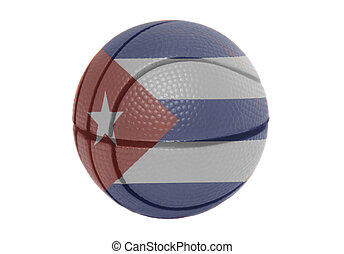 Flag of Cuba on volleyball ball