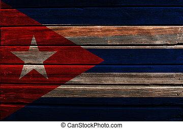 Flag of Cuba on wood