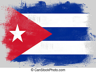 Flag of Cuba painted with brush