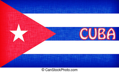 Flag of Cuba stitched with letters