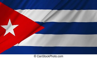 Flag of Cuba waving in the wind 2 in 1