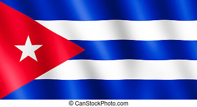 Flag of Cuba waving in the wind giving an undulating texture...