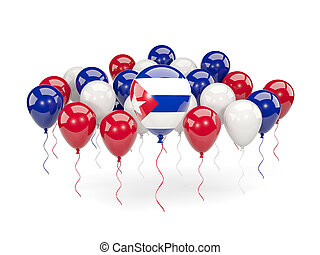 Flag of cuba with balloons