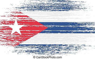 Flag of Cuba with old texture. Vector illustration